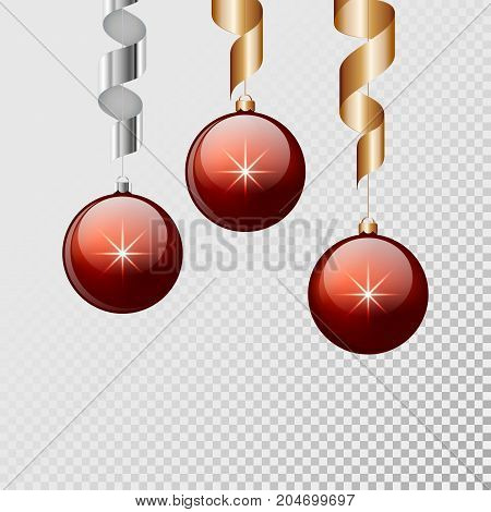 Red christmas balls with ribbon hanging and isolated background. Vector illustration.