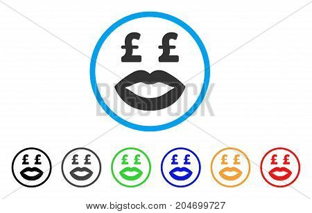 Pound Prostitution Smiley rounded icon. Style is a flat pound prostitution smiley grey symbol inside light blue circle with black, gray, green, blue, red, orange color versions.
