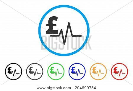 Pound Pulse rounded icon. Style is a flat pound pulse gray symbol inside light blue circle with black, gray, green, blue, red, orange color versions. Vector designed for web and software interfaces.