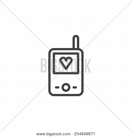 Baby walkie talkie line icon, outline vector sign, linear style pictogram isolated on white. Symbol, logo illustration. Editable stroke