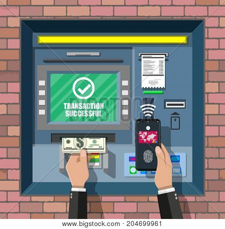 Bank ATM. Automatic teller machine. Program electronic device for payments. Withdrawing money with smartphone by wireless nfc technology with fingerprint sensor. Vector illustration in flat style