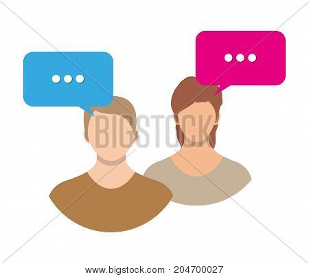Couple avatar icons with dialog speech bubbles. Male and female faces avatars. Discussion group, people talking. Communication, chat, assistance. Vector illustration in flat style