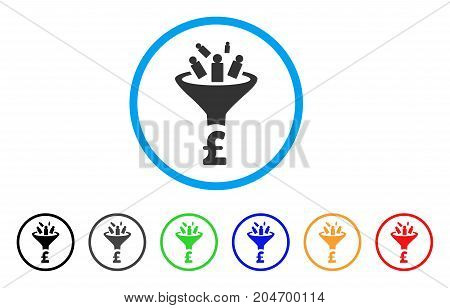 Pound Sales Funnel rounded icon. Style is a flat pound sales funnel grey symbol inside light blue circle with black, gray, green, blue, red, orange variants.