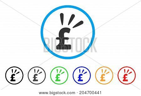 Pound Shine rounded icon. Style is a flat pound shine gray symbol inside light blue circle with black, gray, green, blue, red, orange variants. Vector designed for web and software interfaces.