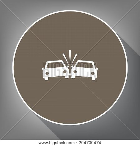 Crashed Cars sign. Vector. White icon on brown circle with white contour and long shadow at gray background. Like top view on postament.