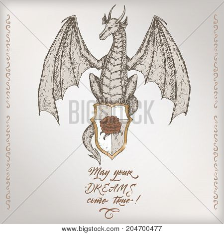Romantic vintage birthday card template with calligraphy and dragon sketch. Great for holiday design.