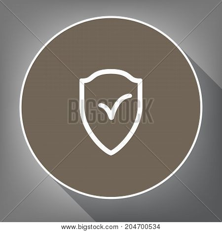 Shield sign as protection and insurance symbol. Vector. White icon on brown circle with white contour and long shadow at gray background. Like top view on postament.