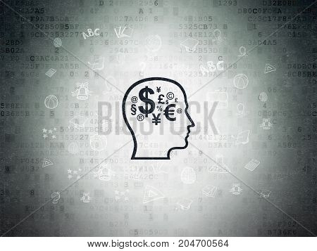 Learning concept: Painted black Head With Finance Symbol icon on Digital Data Paper background with  Hand Drawn Education Icons