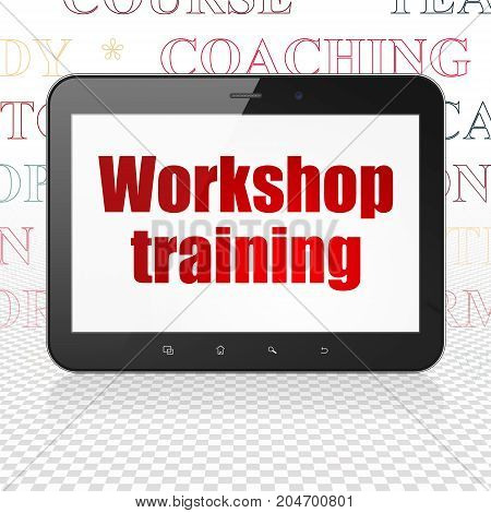 Learning concept: Tablet Computer with  red text Workshop Training on display,  Tag Cloud background, 3D rendering