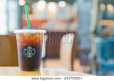 BANGKOK THAILAND - MAY 21 2017 Iced Espresso Starbucks coffee in starbucks coffee shop. Starbucks is the world's largest coffee house.