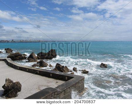 Panoramic view of Castiglioncello coast near Livorno city . Tuscany Italy