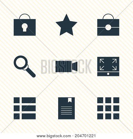 Editable Pack Of Video Camera, Magnifier, Portfolio And Other Elements.  Vector Illustration Of 9 Web Icons.