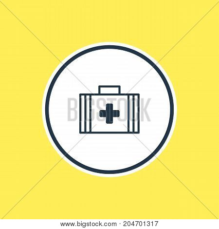 Beautiful Health Element Also Can Be Used As Medical Bag  Element.  Vector Illustration Of First Aid Box Outline.
