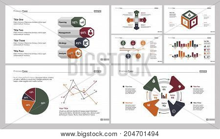 Infographic design set can be used for workflow layout, diagram, annual report, presentation, web design. Business and statistics concept with process, bar, line, pie and percentage charts.
