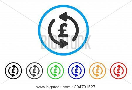 Refresh Pound Price rounded icon. Style is a flat refresh pound price gray symbol inside light blue circle with black, gray, green, blue, red, orange versions.