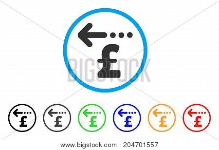 Refund Pound rounded icon. Style is a flat refund pound grey symbol inside light blue circle with black, gray, green, blue, red, orange versions. Vector designed for web and software interfaces.