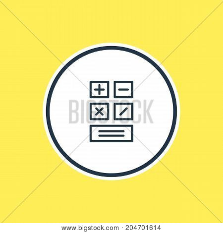 Beautiful Trade Element Also Can Be Used As Calculate  Element.  Vector Illustration Of Calculator Outline.