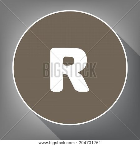 Letter R sign design template element. Vector. White icon on brown circle with white contour and long shadow at gray background. Like top view on postament.