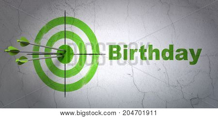 Success holiday concept: arrows hitting the center of target, Green Birthday on wall background, 3D rendering