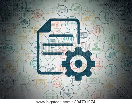 Software concept: Painted blue Gear icon on Digital Data Paper background with Scheme Of Hand Drawn Programming Icons