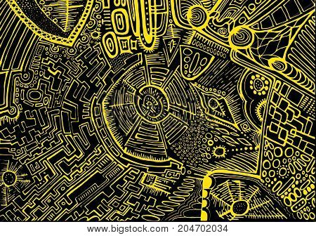 Decorative abstract background psychedelic ethnic style yellow outline on a black background. Stylish card graphic design. Vector hand drawn illustration.