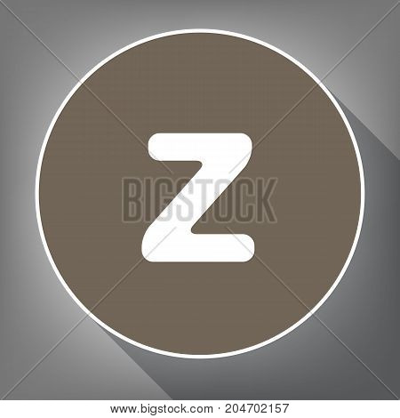 Letter Z sign design template element. Vector. White icon on brown circle with white contour and long shadow at gray background. Like top view on postament.