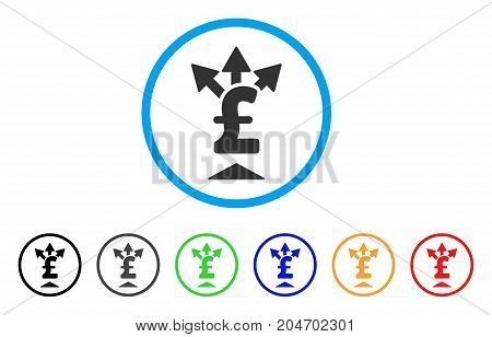 Split Pound Payment rounded icon. Style is a flat split pound payment grey symbol inside light blue circle with black, gray, green, blue, red, orange variants.