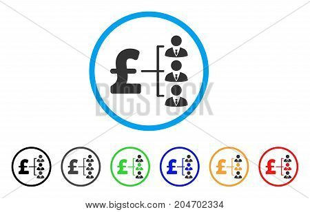 Staff Pound Payment rounded icon. Style is a flat staff pound payment grey symbol inside light blue circle with black, gray, green, blue, red, orange color versions.
