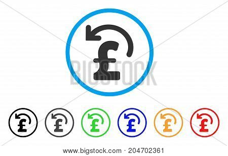 Undo Pound Payment rounded icon. Style is a flat undo pound payment gray symbol inside light blue circle with black, gray, green, blue, red, orange versions.
