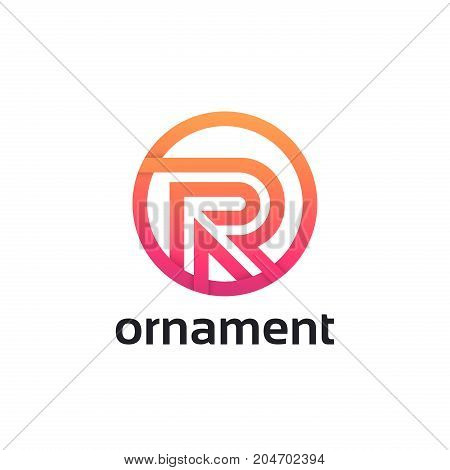 Letter R Logo Flat Icon Circle Linear Sign Vector Design.