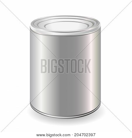 White Blank Tincan Metal Tin Can Canned Food. Ready For Your Design. Product Packing Vector.Mock Up