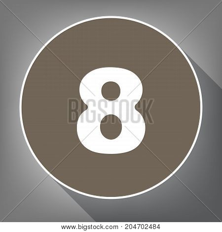 Number 8 sign design template element. Vector. White icon on brown circle with white contour and long shadow at gray background. Like top view on postament.