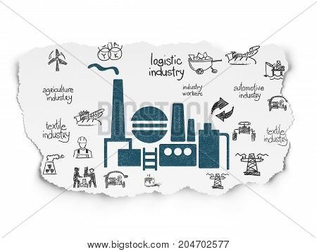 Industry concept: Painted blue Oil And Gas Indusry icon on Torn Paper background with  Hand Drawn Industry Icons