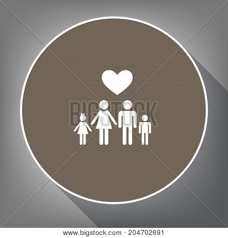 Family symbol with heart. Husband and wife are kept children's hands. Love. Vector. White icon on brown circle with white contour and long shadow at gray background. Like top view on postament.