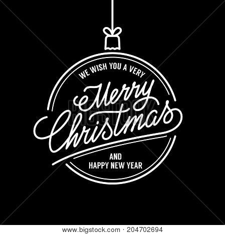 Merry Christmas vector text Calligraphic Lettering design card template. Calligraphy Font style Banner.