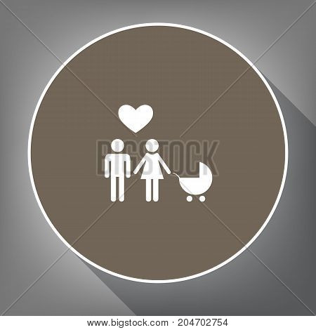 Family symbol with pram and heart. Husband and wife are kept each other's hands. Love. Vector. White icon on brown circle with white contour and long shadow at gray background. Like top view on postament.