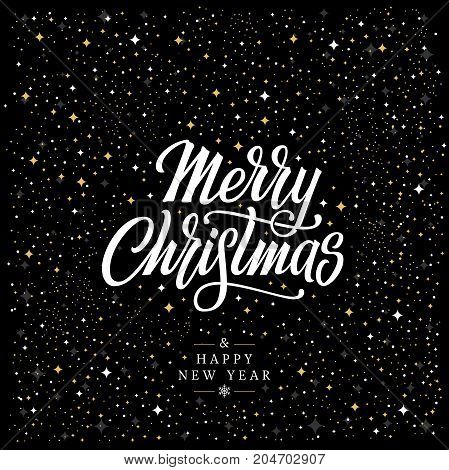 Merry Christmas vector text Calligraphic Lettering design card with Shining Gold Snowflakes. Vector illustration