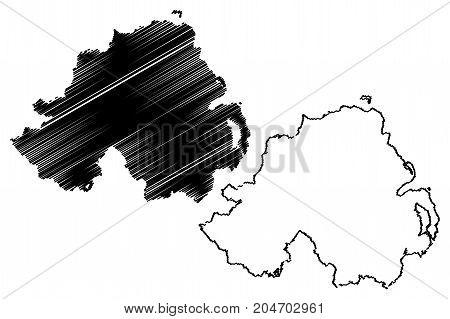 Northern ireland map vector illustration , scribble sketch Northern ireland