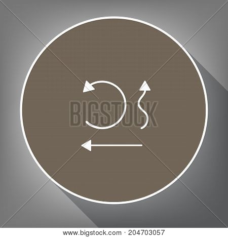 Simple set to Interface Arrows. Vector. White icon on brown circle with white contour and long shadow at gray background. Like top view on postament.
