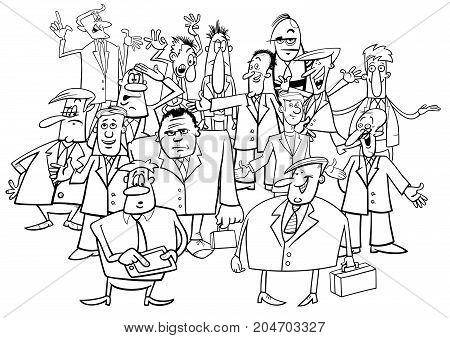 Businessmen Group Black And White Cartoon