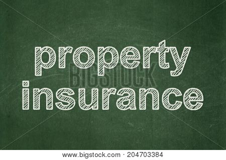 Insurance concept: text Property Insurance on Green chalkboard background