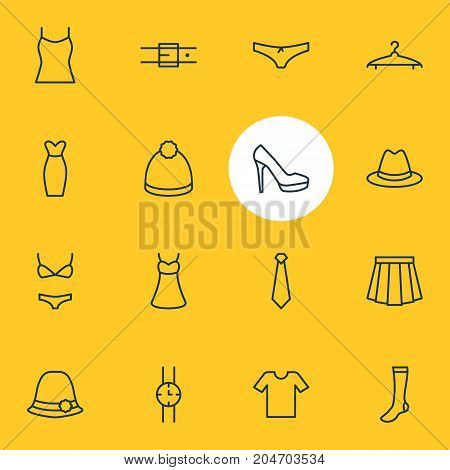 Editable Pack Of Fedora, Hosiery, Pompom And Other Elements.  Vector Illustration Of 16 Clothes Icons.
