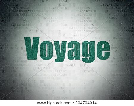 Tourism concept: Painted green word Voyage on Digital Data Paper background