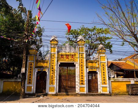 HOIAN, VIETNAM, SEPTEMBER, 04 2017: Beautiful view of the temple at hoian, in a sunny day in Vietnam.
