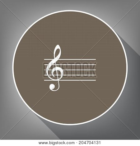 Music violin clef sign. G-clef. Vector. White icon on brown circle with white contour and long shadow at gray background. Like top view on postament.