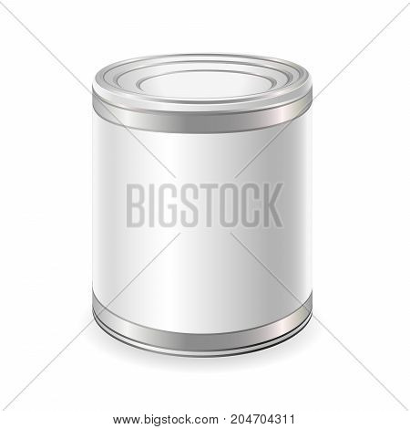 Realistic Blank Tin For Canned Food Preserve Conserve. Mock Up To Advertise Goods.