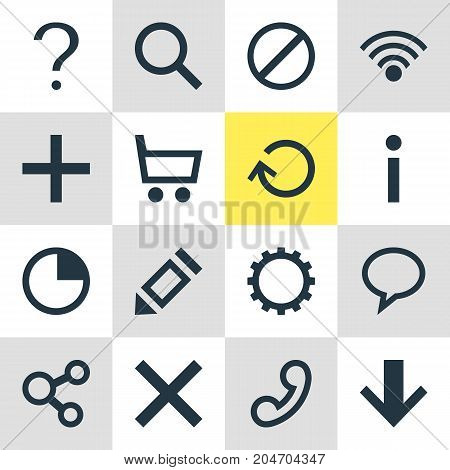Editable Pack Of Handset, Talk Bubble , Wheelbarrow Elements.  Vector Illustration Of 16 User Icons.