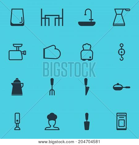 Editable Pack Of Pan, Oven, Oven Mitts And Other Elements.  Vector Illustration Of 16 Restaurant Icons.
