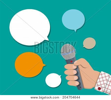 Hand holding microphone and speech balloon. Journalism, live report, hot news, television and radio casts concept. Vector illustration in flat style
