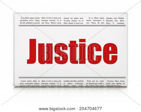 Law concept: newspaper headline Justice on White background, 3D rendering